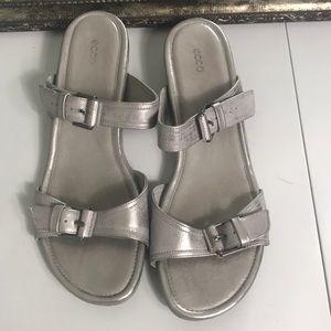 Ecco sandal distressed silver finish Sz 40